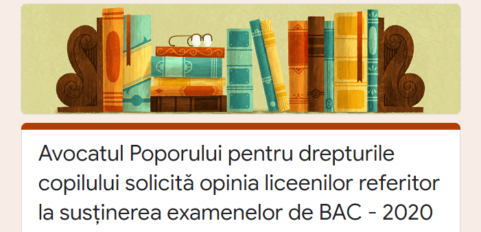 The results of a questionnaire launched by the Children's Ombudsman: 80% of the respondents consider inefficient the online training for the baccalaureate exam for the 12th grade graduates.