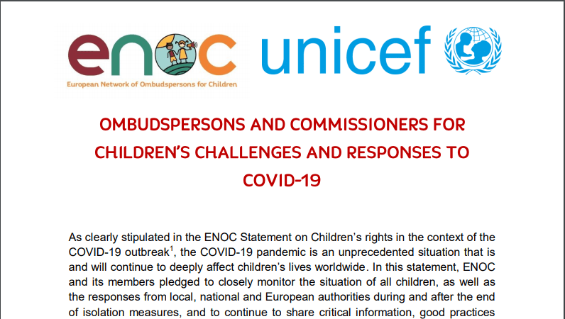 REPORT ON THE ENOC-UNICEF SURVEY: Challenges and responses of Ombudsmen and Commissioners for Children at COVID-19.