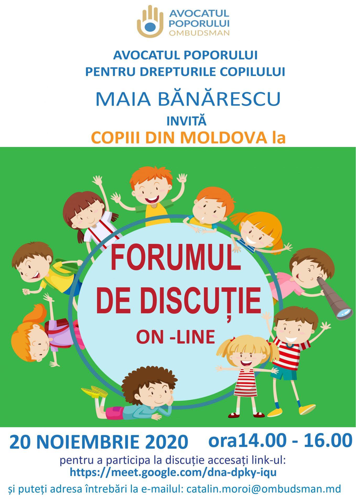 Ombudsmanul Copilului invită copiii la FORUMUL DE DISCUȚIE ON-LINE