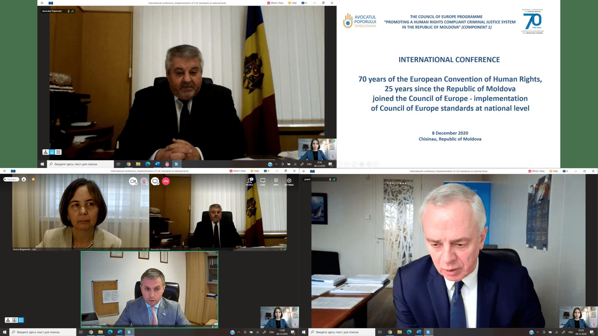 """Conferința Internațională  """"70 de ani ai CEDO, 25 de ani de la aderarea Republicii Moldova la Consiliul Europei – implementarea standardelor CoE la nivel național"""""""