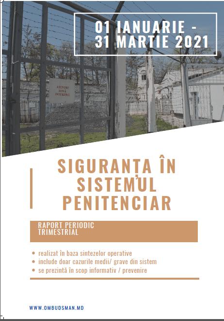Siguranța în sistemul penitenciar în perioada ianuarie – martie 2021